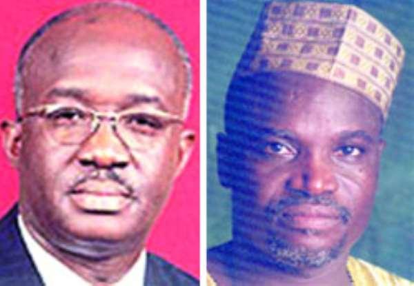 Mr. Joseph Adda - Energy Minister (left), • Mr. Moses Asaga - Minority Spokes Person on Energy (right)